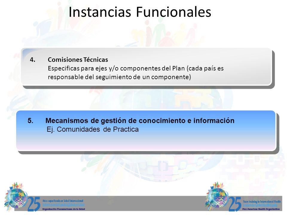 4.Comisiones Técnicas Especificas para ejes y/o componentes del Plan (cada país es responsable del seguimiento de un componente) Instancias Funcionale