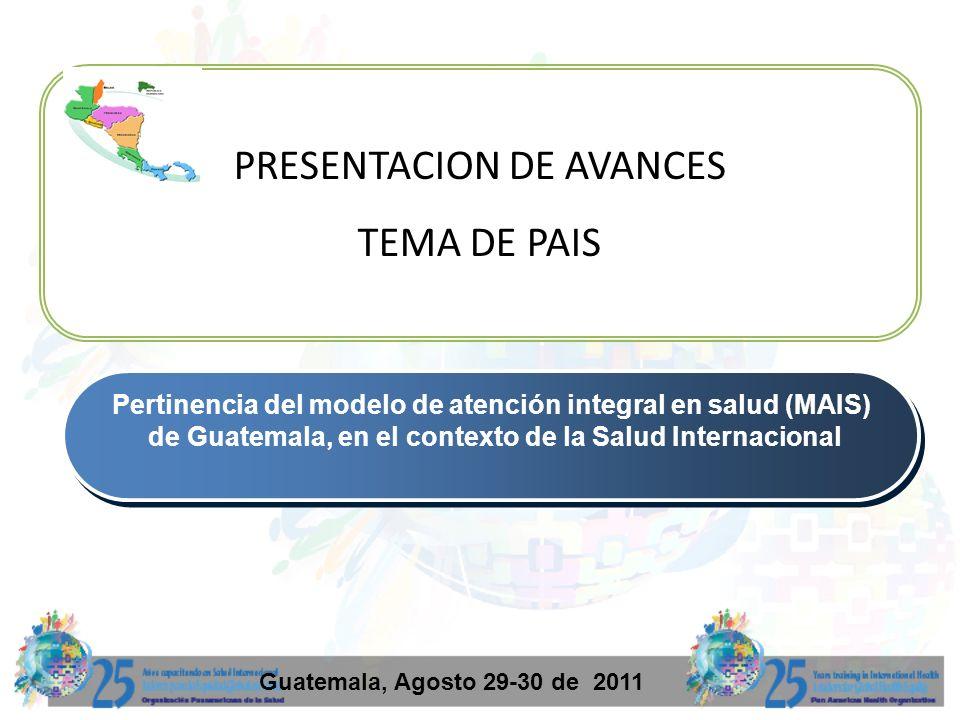 2 Antecedentes: Procesos de mejoramiento del modelo de atención: Reforma sectorial 97 (PEC) Acuerdos de paz (Extensión de Cobertura y reducción de indicadores ) Modelo de gestión del II nivel 2,000 2,002 Modelo Incluyente de Salud 2,003 iniciativa SAPIA, Programa Nacional de Medicina Tradicional y Alternativa 2005 al 2007 se trabajo en el Modelo Básico de Gestión y Atención Integral (4 gerencias ) 2,008-9 al fortalecimiento de la red y a la gratuidad de servicios de salud y Unidad de pueblos indígenas.