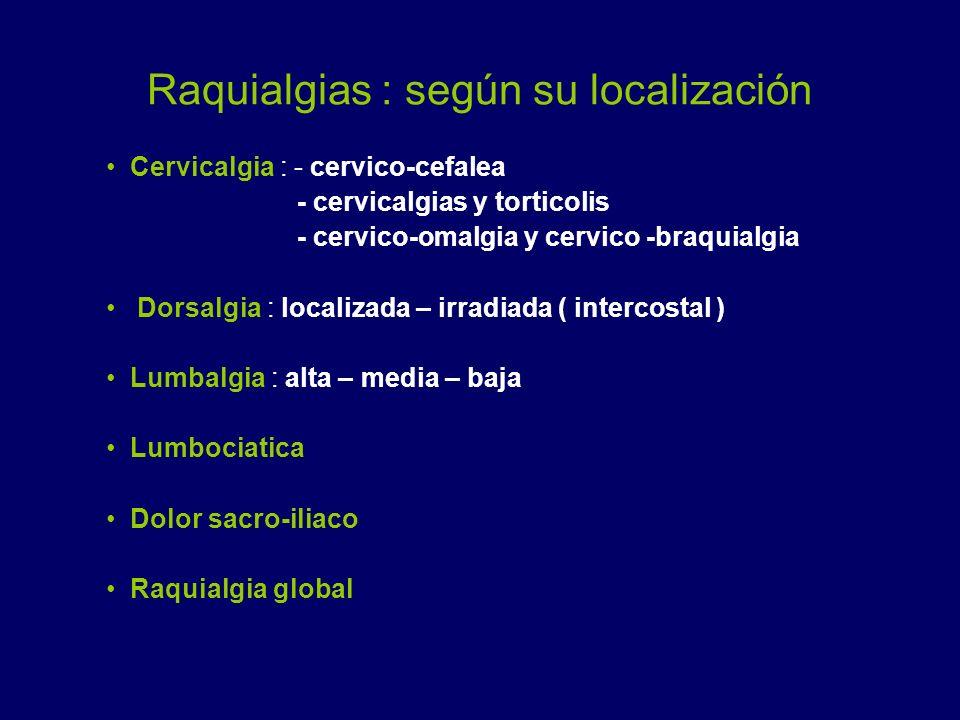 Raquialgias : según su localización Cervicalgia : - cervico-cefalea - cervicalgias y torticolis - cervico-omalgia y cervico -braquialgia Dorsalgia : l
