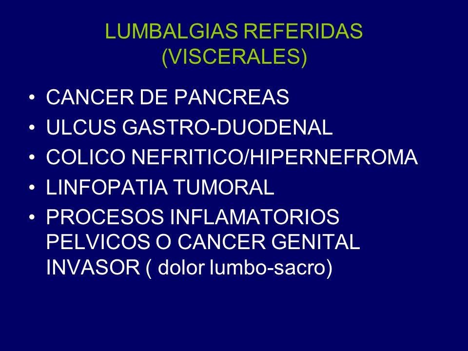 LUMBALGIAS REFERIDAS (VISCERALES) CANCER DE PANCREAS ULCUS GASTRO-DUODENAL COLICO NEFRITICO/HIPERNEFROMA LINFOPATIA TUMORAL PROCESOS INFLAMATORIOS PEL