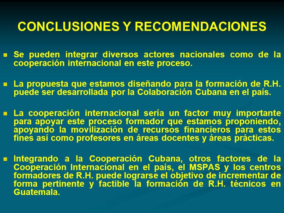 CONCLUSIONES Y RECOMENDACIONES Se pueden integrar diversos actores nacionales como de la cooperación internacional en este proceso.