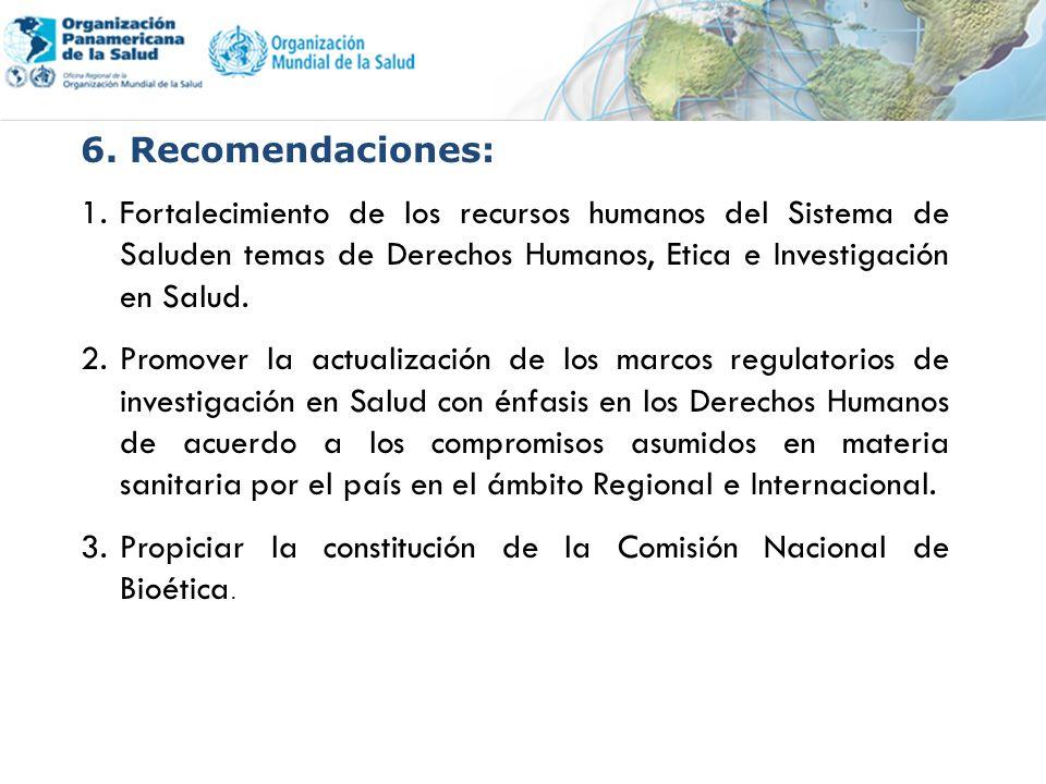6. Recomendaciones: 1.Fortalecimiento de los recursos humanos del Sistema de Saluden temas de Derechos Humanos, Etica e Investigación en Salud. 2.Prom