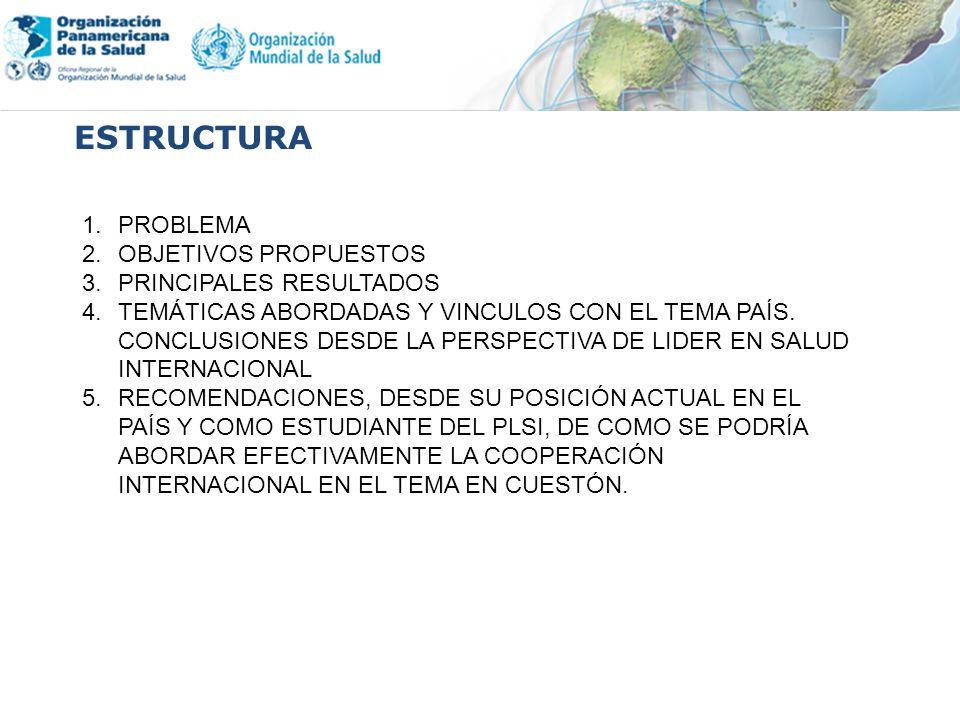 ESTRUCTURA 1.PROBLEMA 2.OBJETIVOS PROPUESTOS 3.PRINCIPALES RESULTADOS 4.TEMÁTICAS ABORDADAS Y VINCULOS CON EL TEMA PAÍS.