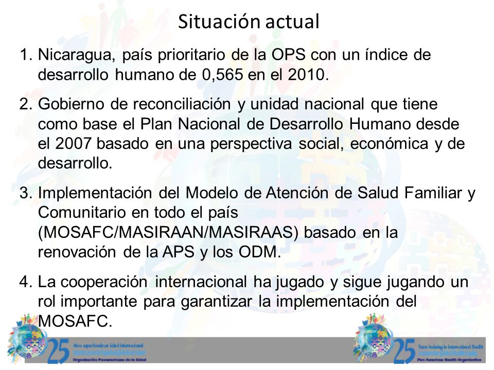 Situación actual 5.Existencia de un plan nacional de desarrollo de recursos humanos.