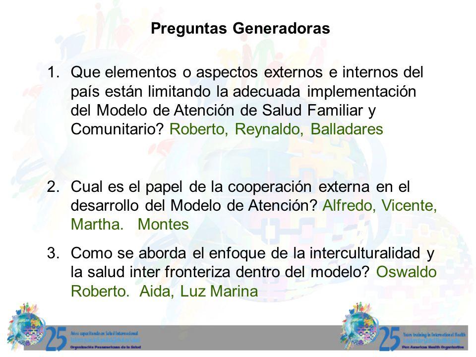 Preguntas Generadoras 1. Que elementos o aspectos externos e internos del país están limitando la adecuada implementación del Modelo de Atención de Sa