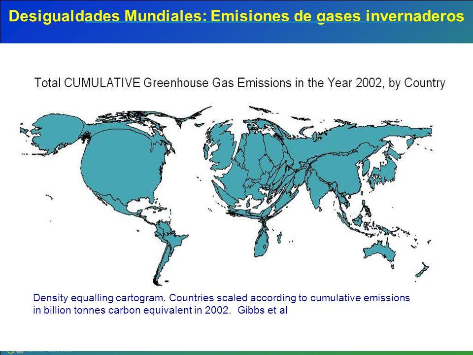 Desigualdades Mundiales: Emisiones de gases invernaderos Density equalling cartogram. Countries scaled according to cumulative emissions in billion to