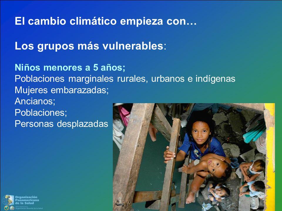 Los grupos más vulnerables: Niños menores a 5 años; Poblaciones marginales rurales, urbanos e indígenas Mujeres embarazadas; Ancianos; Poblaciones; Pe