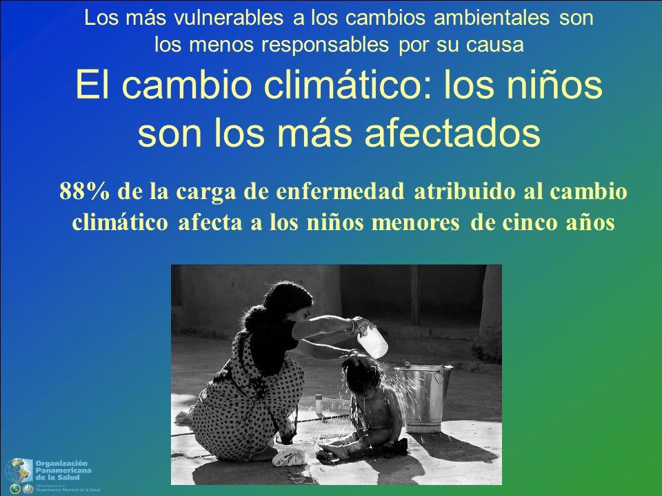 El cambio climático: los niños son los más afectados 88% de la carga de enfermedad atribuido al cambio climático afecta a los niños menores de cinco a