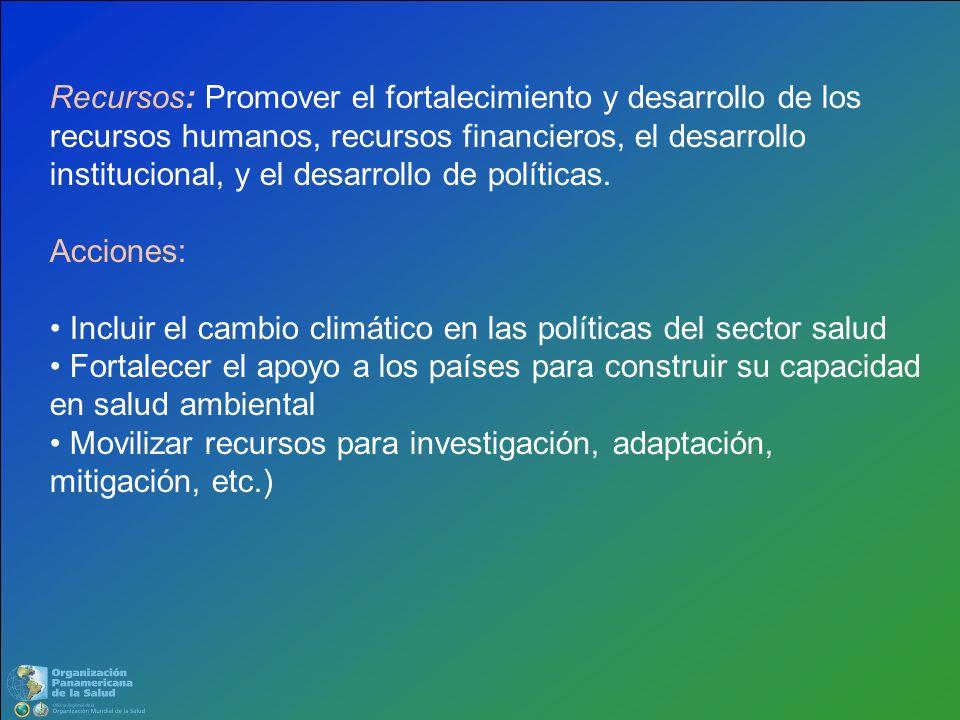 Recursos: Promover el fortalecimiento y desarrollo de los recursos humanos, recursos financieros, el desarrollo institucional, y el desarrollo de polí