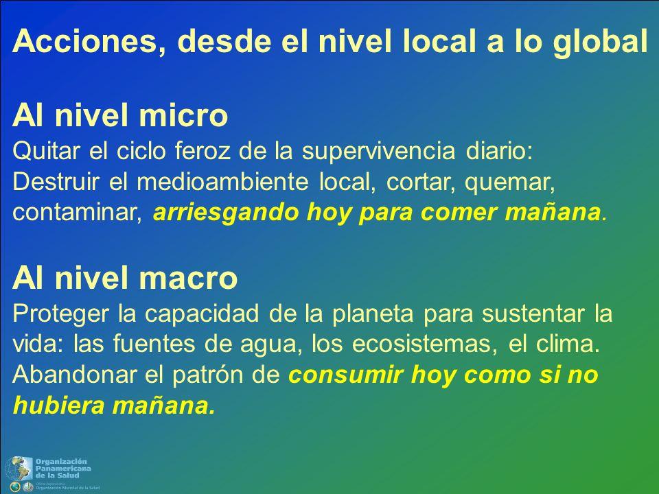 Acciones, desde el nivel local a lo global Al nivel micro Quitar el ciclo feroz de la supervivencia diario: Destruir el medioambiente local, cortar, q