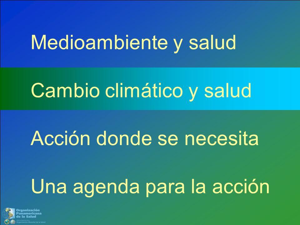Medioambiente y salud Cambio climático y salud Acción donde se necesita Una agenda para la acción