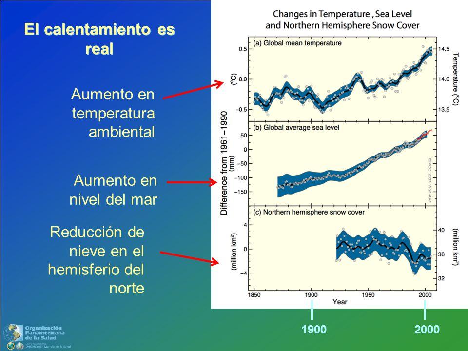 Aumento en temperatura ambiental Aumento en nivel del mar Reducción de nieve en el hemisferio del norte El calentamiento es real 19002000