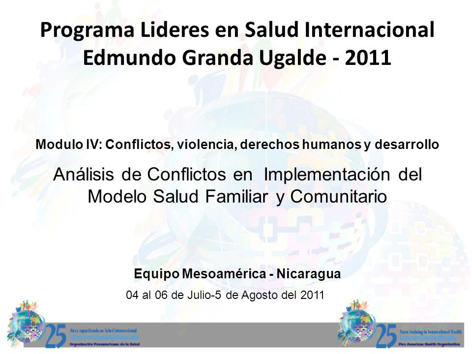 Programa Lideres en Salud Internacional Edmundo Granda Ugalde - 2011 Modulo IV: Conflictos, violencia, derechos humanos y desarrollo 04 al 06 de Julio