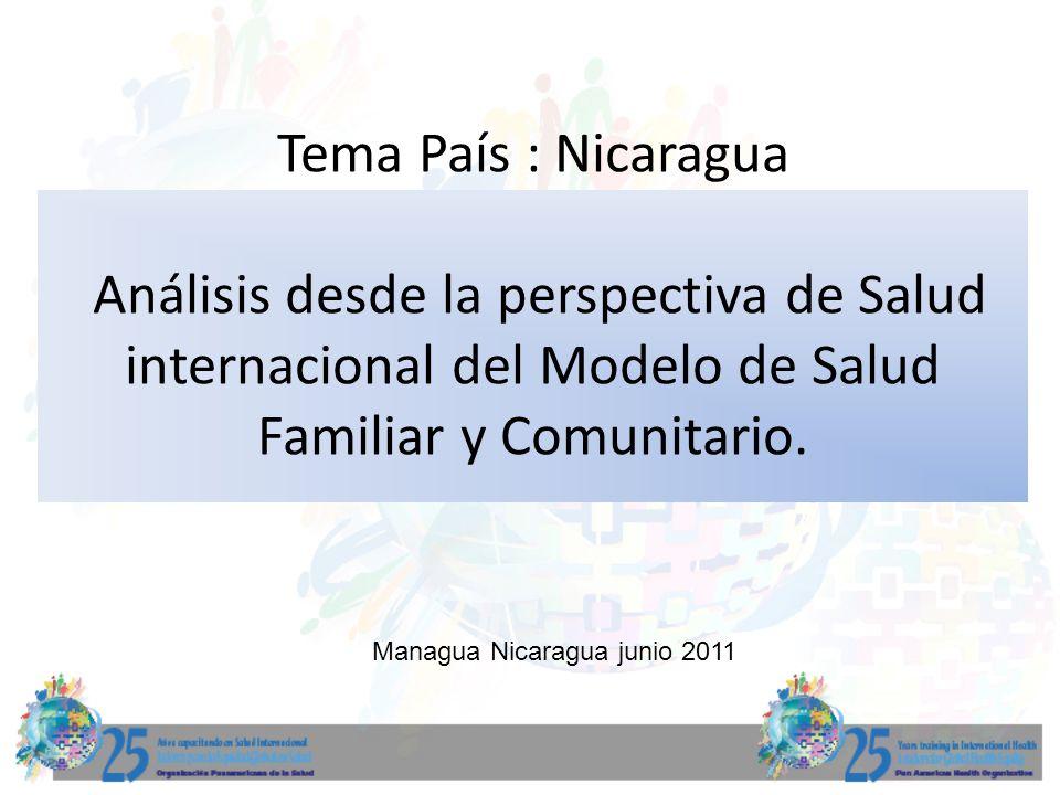 Tema País : Nicaragua Análisis desde la perspectiva de Salud internacional del Modelo de Salud Familiar y Comunitario. Managua Nicaragua junio 2011