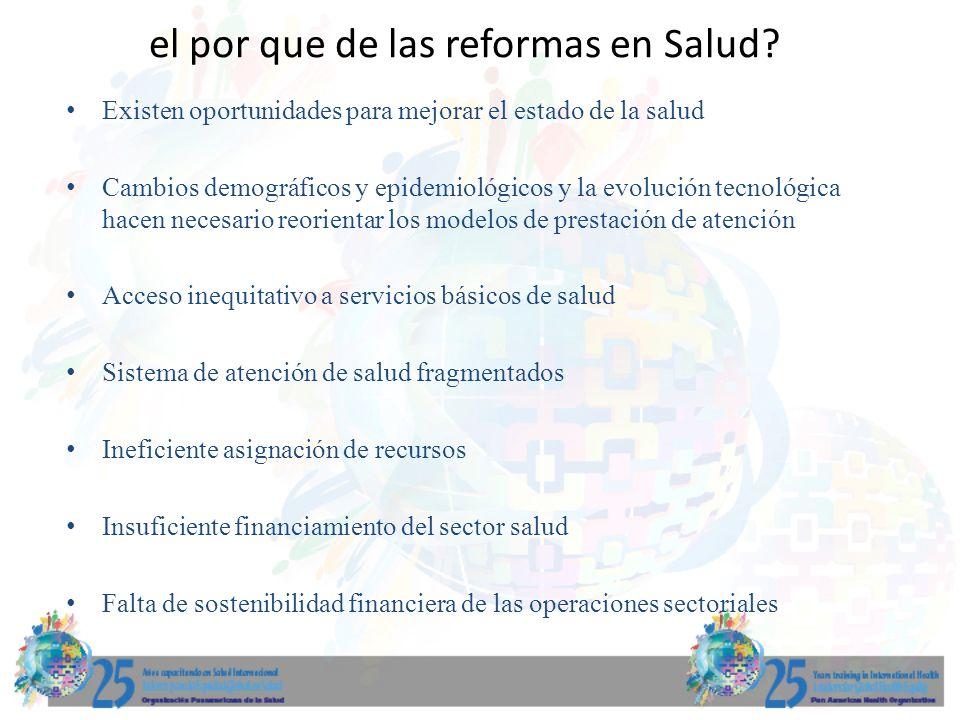 el por que de las reformas en Salud? Existen oportunidades para mejorar el estado de la salud Cambios demográficos y epidemiológicos y la evolución te