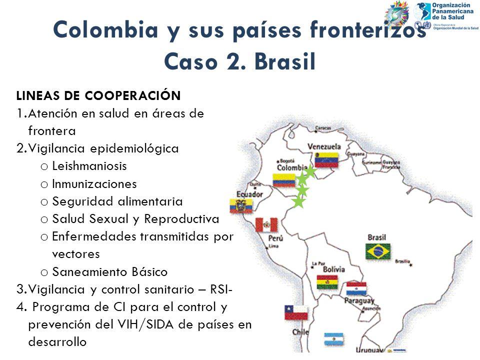 Colombia y sus países fronterizos Caso 2. Brasil LINEAS DE COOPERACIÓN 1.Atención en salud en áreas de frontera 2.Vigilancia epidemiológica o Leishman