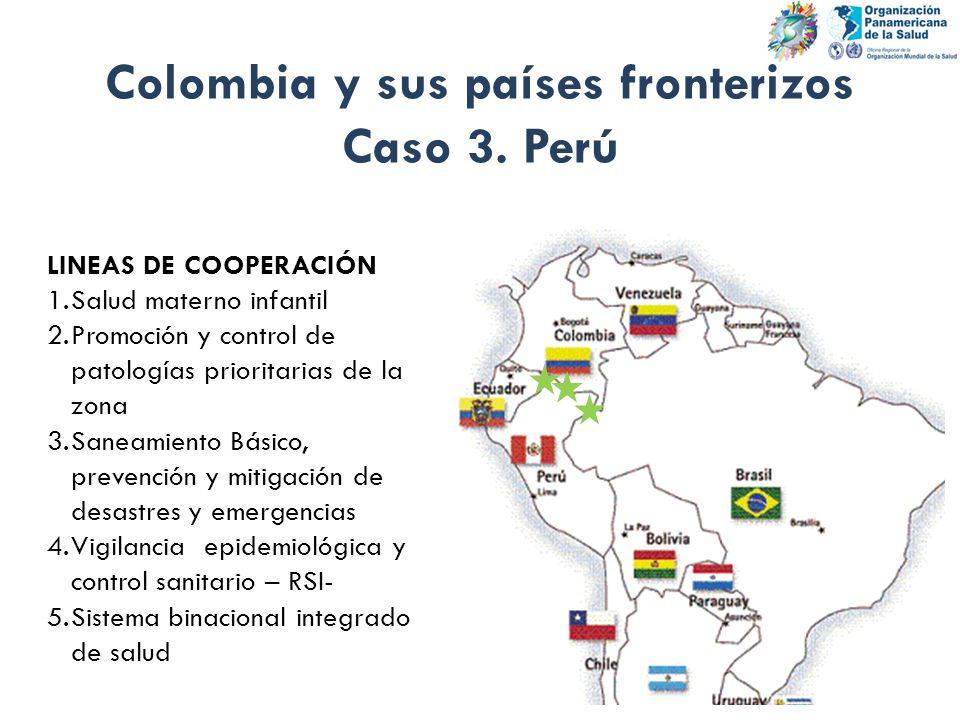 Colombia y sus países fronterizos Caso 3. Perú LINEAS DE COOPERACIÓN 1.Salud materno infantil 2.Promoción y control de patologías prioritarias de la z