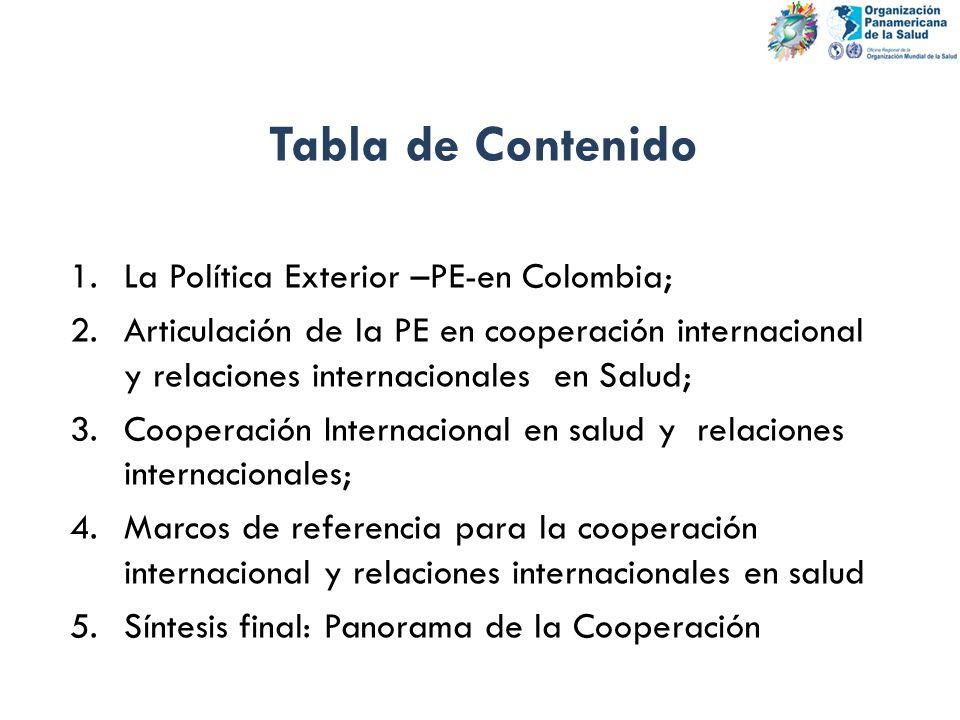 Tabla de Contenido 1.La Política Exterior –PE-en Colombia; 2.Articulación de la PE en cooperación internacional y relaciones internacionales en Salud;