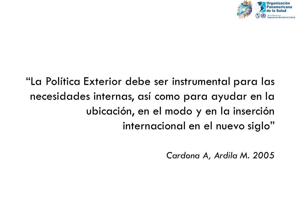 La Política Exterior debe ser instrumental para las necesidades internas, así como para ayudar en la ubicación, en el modo y en la inserción internaci