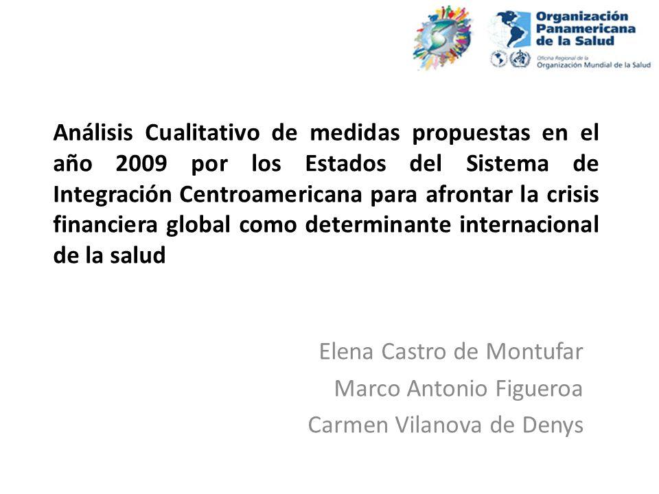 Análisis Cualitativo de medidas propuestas en el año 2009 por los Estados del Sistema de Integración Centroamericana para afrontar la crisis financier