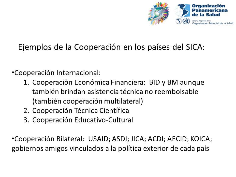 Cooperación Internacional: 1.Cooperación Económica Financiera: BID y BM aunque también brindan asistencia técnica no reembolsable (también cooperación
