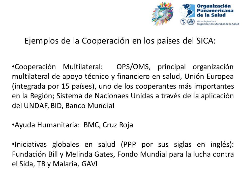 Cooperación Multilateral: OPS/OMS, principal organización multilateral de apoyo técnico y financiero en salud, Unión Europea (integrada por 15 países)