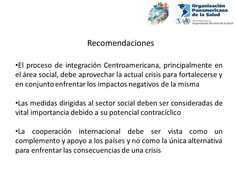 Recomendaciones El proceso de integración Centroamericana, principalmente en el área social, debe aprovechar la actual crisis para fortalecerse y en c