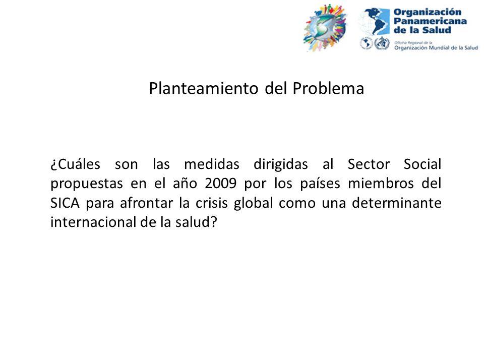 General: Comparar las medidas propuestas en el año 2009 por los países miembros del SICA para afrontar la crisis global como una determinante internacional de la salud Objetivos