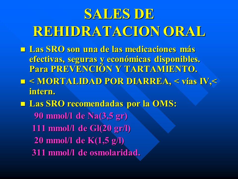 SALES DE REHIDRATACIÓN ORAL SALES DE REHIDRATACIÓN ORAL Algunos trabajos indican MENORES CONCENTRACIONES DE SODIO y GLUCOSA: favorecen absorción de liq.
