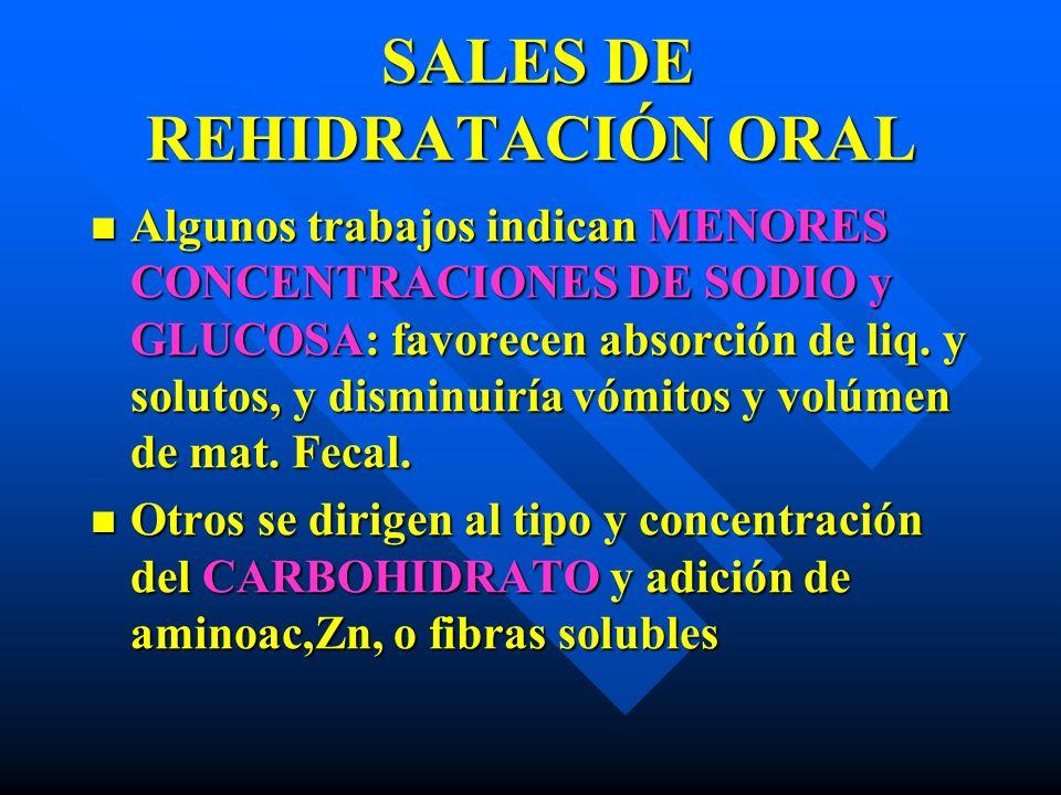 SALES DE REHIDRATACIÓN ORAL SALES DE REHIDRATACIÓN ORAL Algunos trabajos indican MENORES CONCENTRACIONES DE SODIO y GLUCOSA: favorecen absorción de li