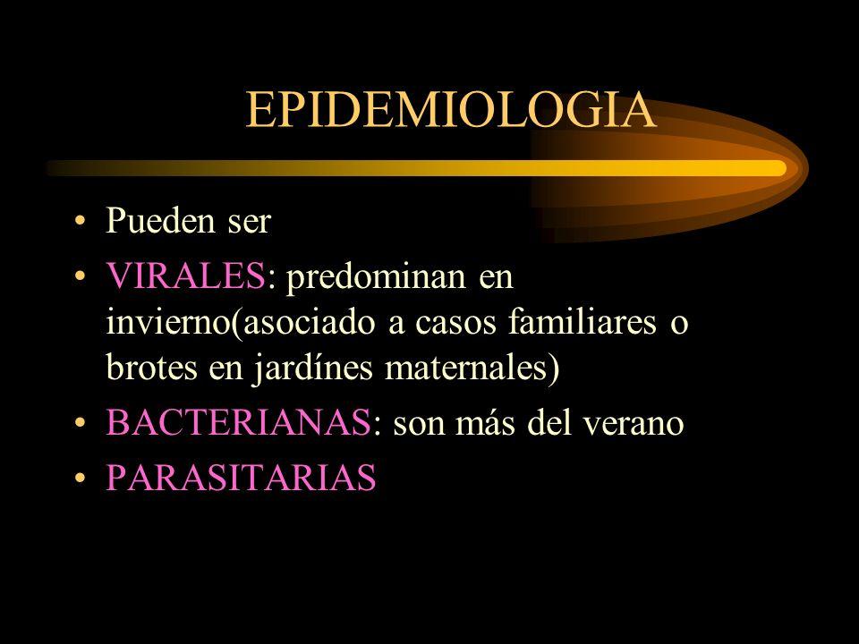 CLASIFICACiON DE DIARREAS SECRETORIAS o TOXIGENICAS INVASIVAS o PENETRANTES ADHESIVAS u OSMOTICAS POR DAÑO DEL EPITELIO INTESTINAL