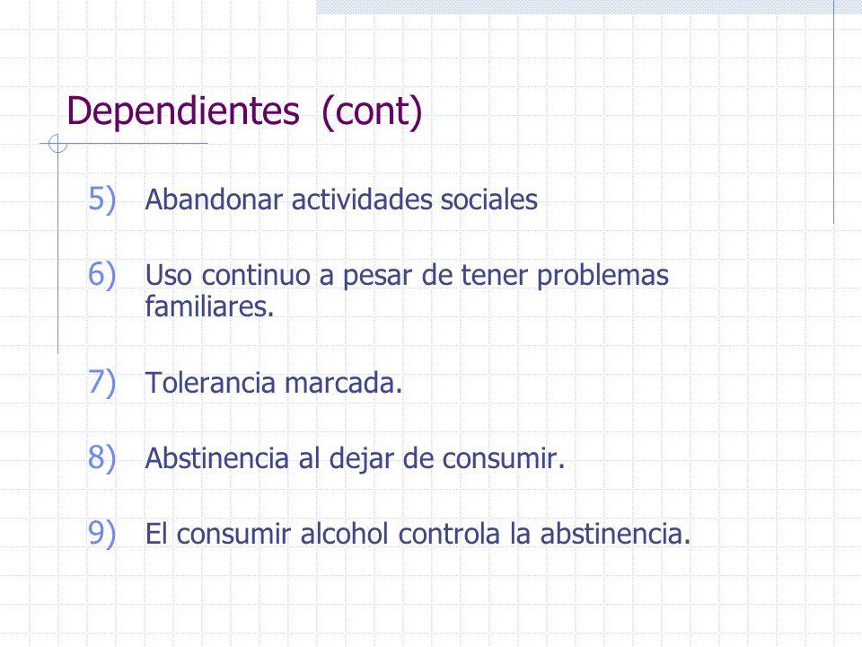 Dependientes (cont) 5) Abandonar actividades sociales 6) Uso continuo a pesar de tener problemas familiares. 7) Tolerancia marcada. 8) Abstinencia al