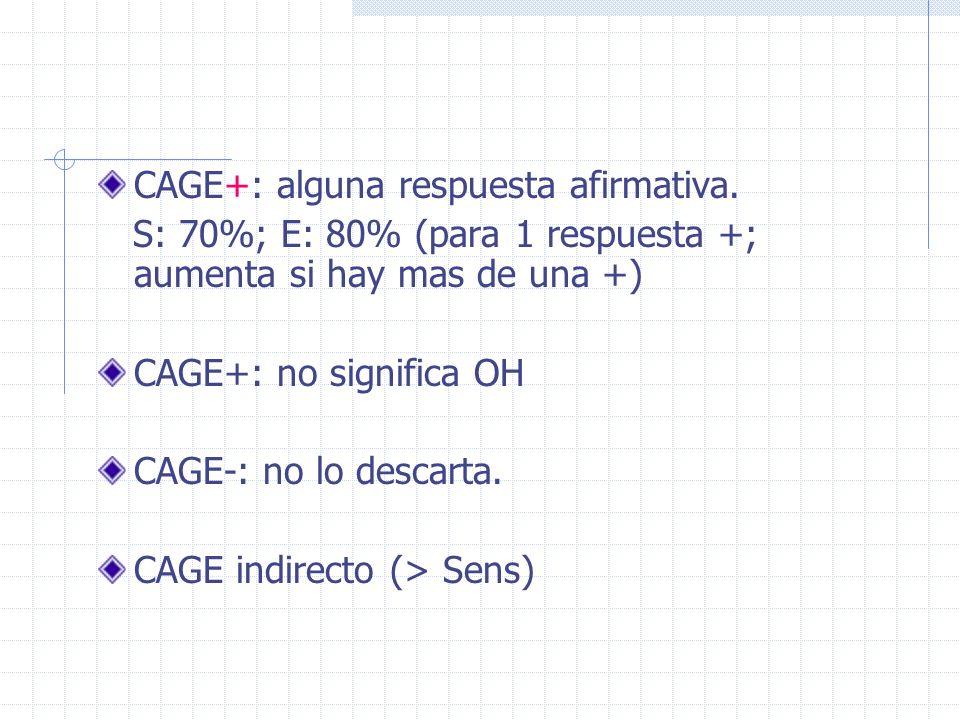 CAGE+: alguna respuesta afirmativa. S: 70%; E: 80% (para 1 respuesta +; aumenta si hay mas de una +) CAGE+: no significa OH CAGE-: no lo descarta. CAG