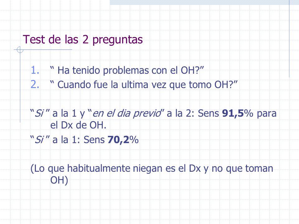 Test de las 2 preguntas 1. Ha tenido problemas con el OH? 2. Cuando fue la ultima vez que tomo OH? Si a la 1 y en el dia previo a la 2: Sens 91,5% par