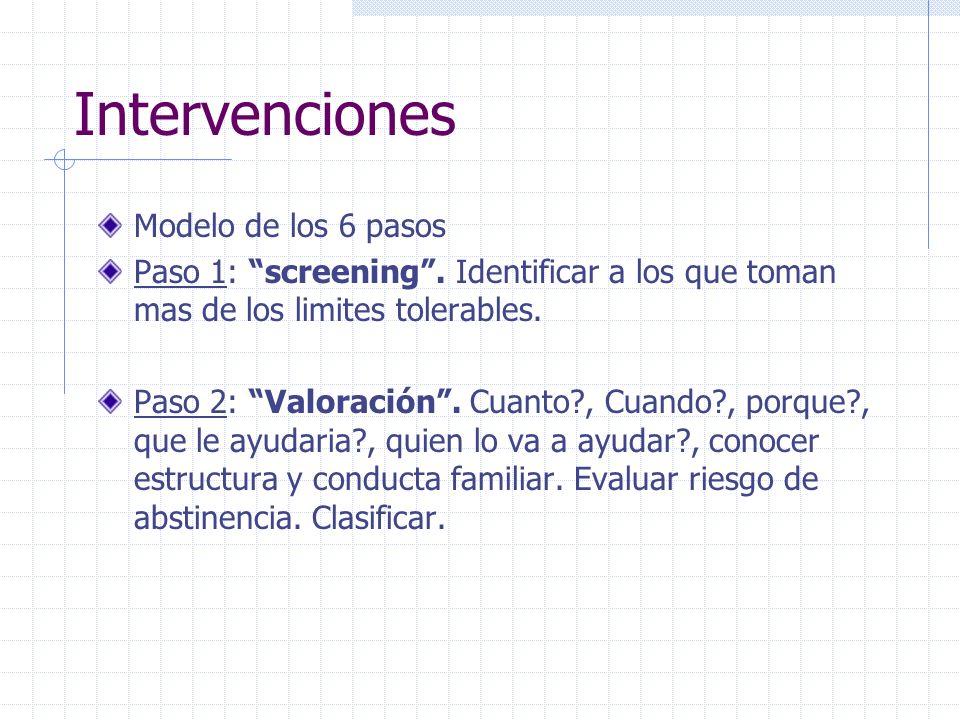 Intervenciones Modelo de los 6 pasos Paso 1: screening. Identificar a los que toman mas de los limites tolerables. Paso 2: Valoración. Cuanto?, Cuando