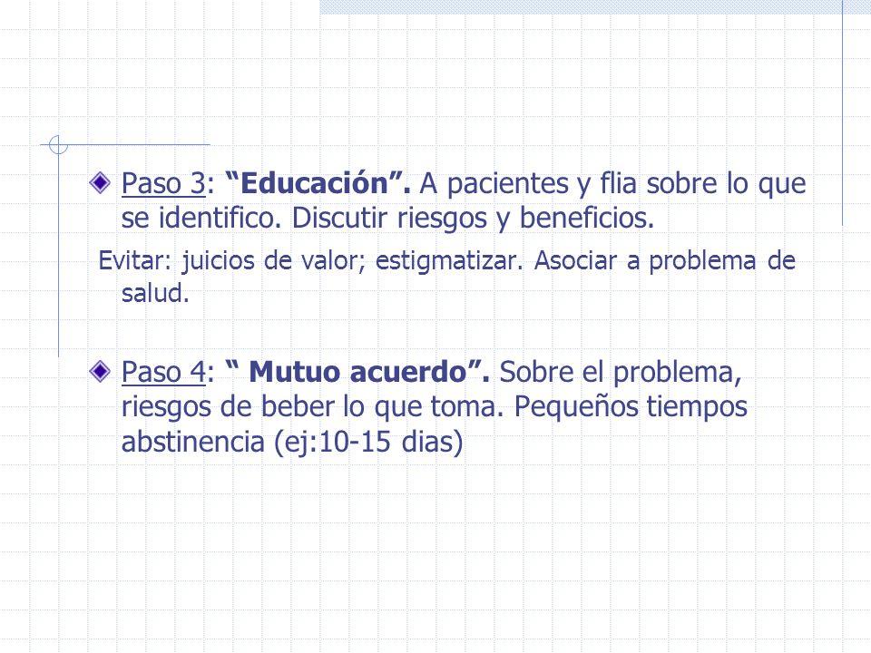 Paso 3: Educación. A pacientes y flia sobre lo que se identifico. Discutir riesgos y beneficios. Evitar: juicios de valor; estigmatizar. Asociar a pro