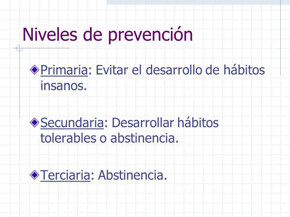 Niveles de prevención Primaria: Evitar el desarrollo de hábitos insanos. Secundaria: Desarrollar hábitos tolerables o abstinencia. Terciaria: Abstinen