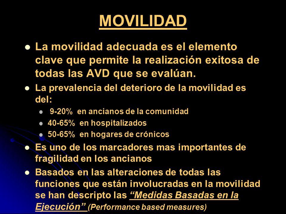 MOVILIDAD La movilidad adecuada es el elemento clave que permite la realización exitosa de todas las AVD que se evalúan. La prevalencia del deterioro