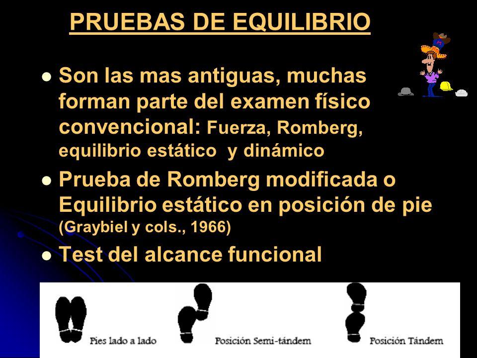 PRUEBAS DE EQUILIBRIO Son las mas antiguas, muchas forman parte del examen físico convencional: Fuerza, Romberg, equilibrio estático y dinámico Prueba