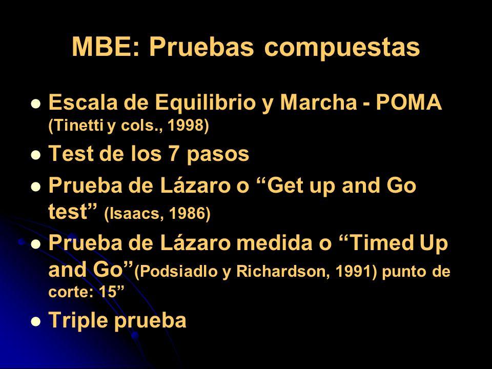 MBE: Pruebas compuestas Escala de Equilibrio y Marcha - POMA (Tinetti y cols., 1998) Test de los 7 pasos Prueba de Lázaro o Get up and Go test (Isaacs