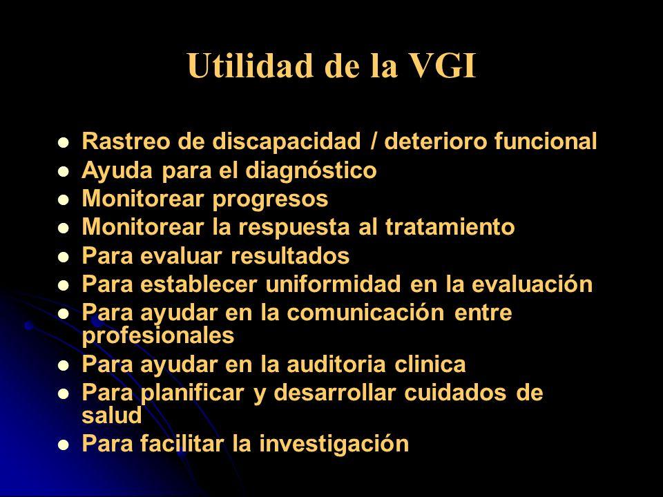 Utilidad de la VGI Rastreo de discapacidad / deterioro funcional Ayuda para el diagnóstico Monitorear progresos Monitorear la respuesta al tratamiento