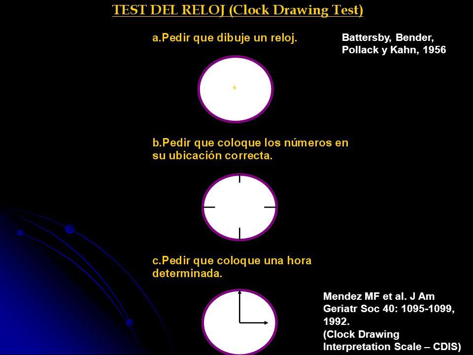 Battersby, Bender, Pollack y Kahn, 1956 Mendez MF et al. J Am Geriatr Soc 40: 1095-1099, 1992. (Clock Drawing Interpretation Scale – CDIS)