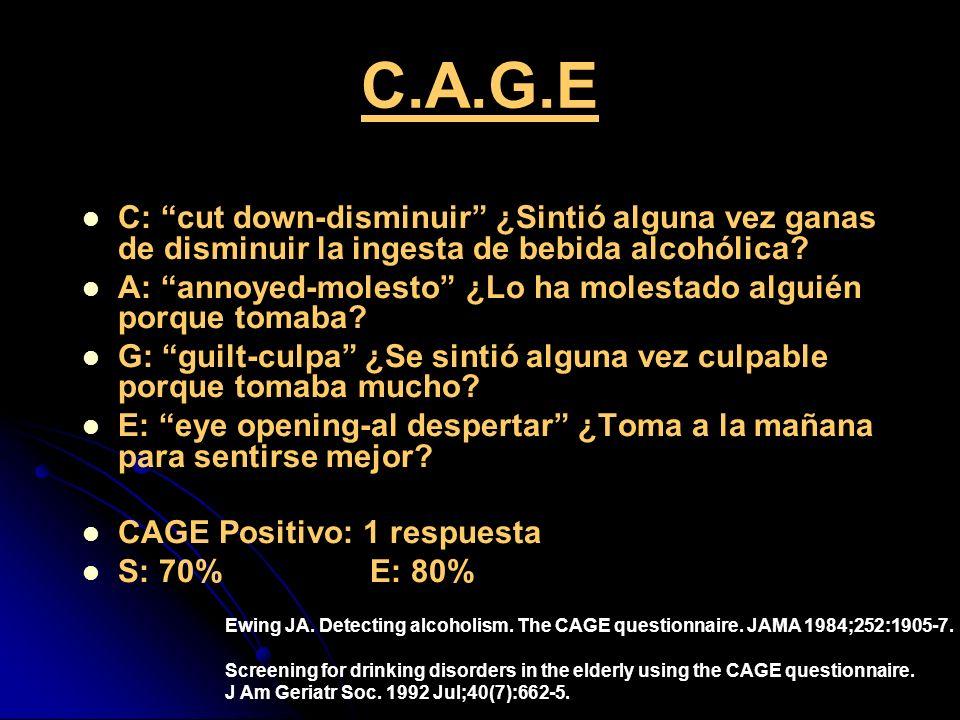 C.A.G.E C: cut down-disminuir ¿Sintió alguna vez ganas de disminuir la ingesta de bebida alcohólica? A: annoyed-molesto ¿Lo ha molestado alguién porqu