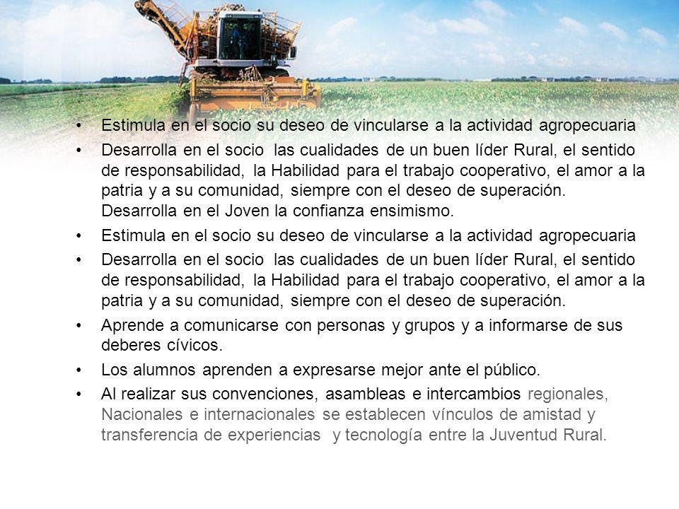 Estimula en el socio su deseo de vincularse a la actividad agropecuaria Desarrolla en el socio las cualidades de un buen líder Rural, el sentido de re