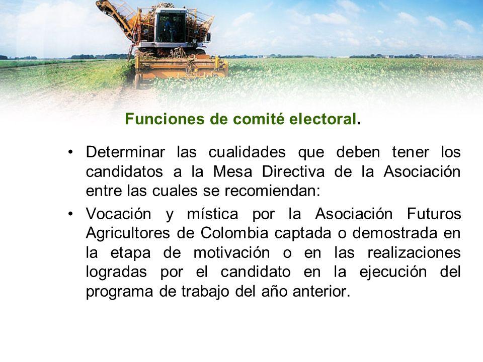 Funciones de comité electoral. Determinar las cualidades que deben tener los candidatos a la Mesa Directiva de la Asociación entre las cuales se recom