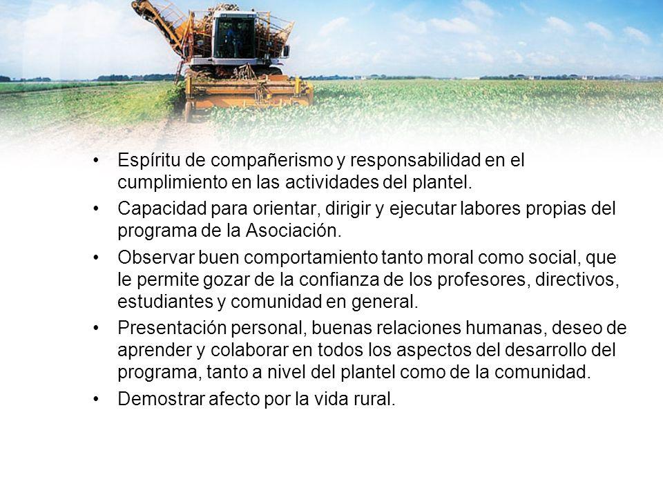 Espíritu de compañerismo y responsabilidad en el cumplimiento en las actividades del plantel. Capacidad para orientar, dirigir y ejecutar labores prop