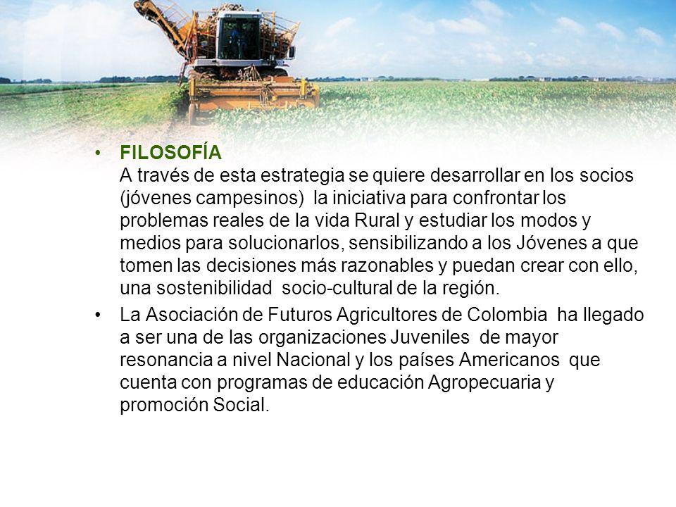 FILOSOFÍA A través de esta estrategia se quiere desarrollar en los socios (jóvenes campesinos) la iniciativa para confrontar los problemas reales de l