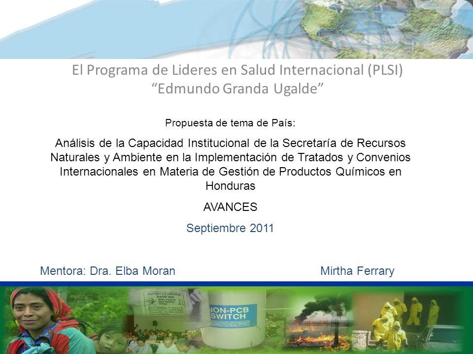El Programa de Lideres en Salud Internacional (PLSI) Edmundo Granda Ugalde Abordando retos y desafíos en la Región Propuesta de tema de País: Análisis de la Capacidad Institucional de la Secretaría de Recursos Naturales y Ambiente en la Implementación de Tratados y Convenios Internacionales en Materia de Gestión de Productos Químicos en Honduras AVANCES Septiembre 2011 Mentora: Dra.