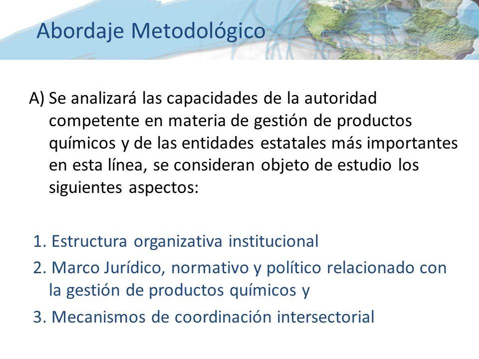 A)Se analizará las capacidades de la autoridad competente en materia de gestión de productos químicos y de las entidades estatales más importantes en esta línea, se consideran objeto de estudio los siguientes aspectos: 1.