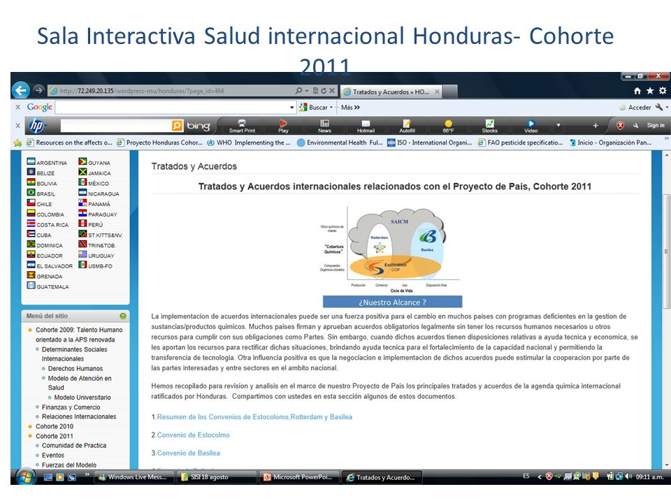 Sala Interactiva Salud internacional Honduras- Cohorte 2011